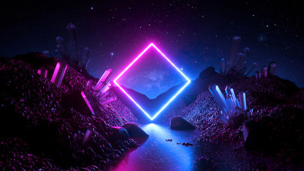 Obraz 3d render, abstract neon background, mystical cosmic landscape, pink blue glowing ring over terrain, square frame, virtual reality, dark space, ultraviolet light, crystal mountains, rocks, ground - fototapety do salonu