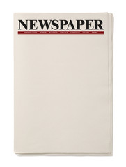 Blank Business Newspaper isolated on white background, Daily Newspaper mock-up concept