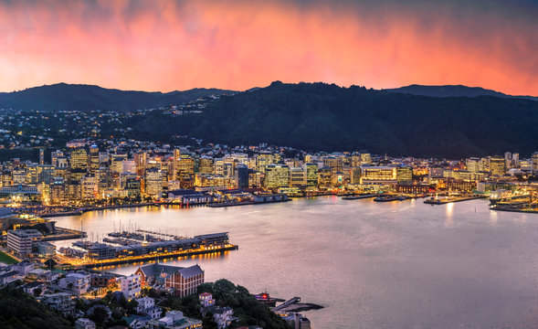 Wellington city and harbour at sunset from Mount Victoria. Wellington is the capital city of New Zealand and is located at the bottom of the North Island.