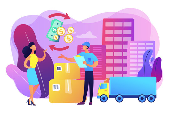 Payment collection, parcel return. Express transportation business. Cash on delivery COD, collect on delivery, full payment at delivery concept. Bright vibrant violet vector isolated illustration