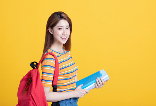 Portrait of beautiful asian  student  smiling