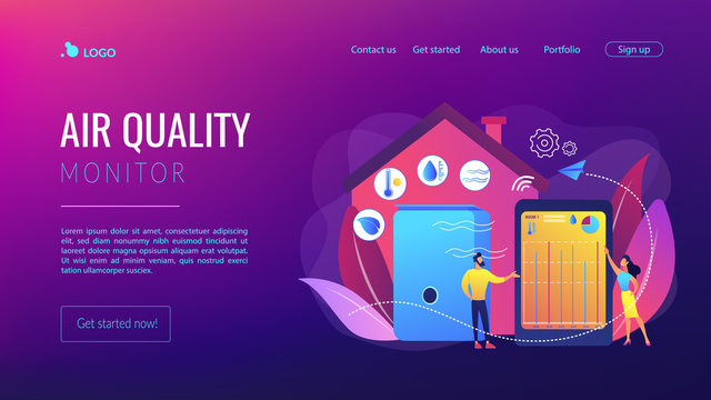 Home automation system, domotics. Air quality monitor, smart home detectors, air filtering system, improve the quality of air concept. Website homepage landing web page template.