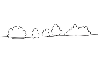 Continuous line drawing. Clouds.doodle hand drawing style