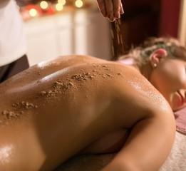 In spa salon. Image of procedure massage and scrub