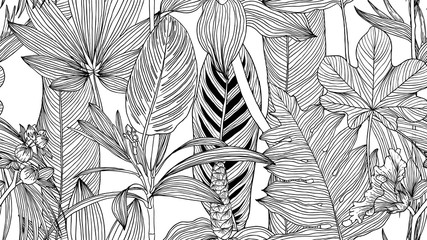 Botanical seamless pattern, black and white tropical leaves and flowers line art ink drawing on white