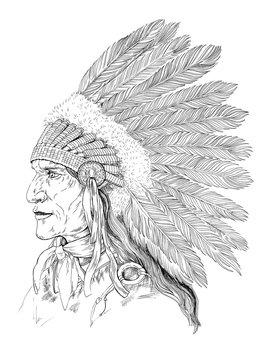 Drawing Native American head, portrait Indian