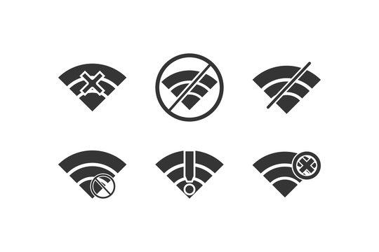 Wifi no signal icon set on white background. Black and white icons.