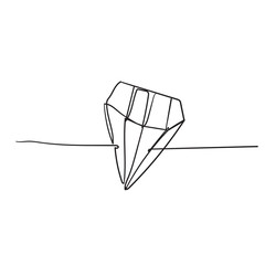 doodle diamond with continuous line style vector