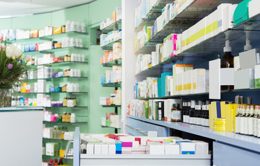Fototapeta picture of the shelves with medicines obraz