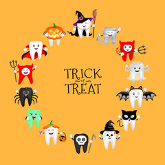 Cartoon spooky tooth in Halloween costumes. Trick or treat, Halloween concept. Illustration isolated on orange background.