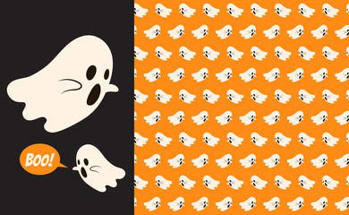 Halloween ghost seamless pattern background. Holidays cute ghost cartoon character vector illustration