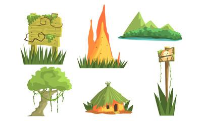 Jungle Landscape Elements Set, User Interface Assets for Mobile App or Video Game Vector Illustration