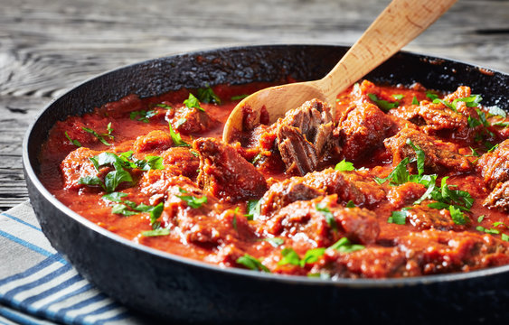 close-up of spicy Beef Stew in tomato sauce