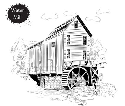 Drawing in the old style of the water mill for designs and menus