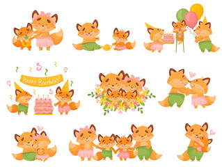 Set of images of a family of foxes in different situations. Vector illustration on a white background.