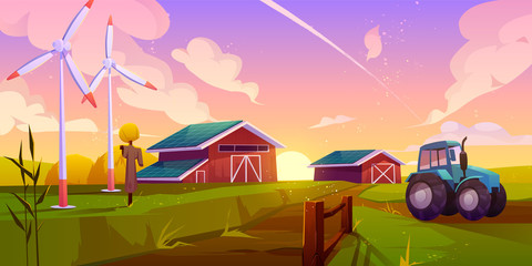 Smart and organic farming, future ecological agriculture cartoon vector concept with tractor going on rural road, wind turbines working in field, wooden barns with solar panels on roof illustration