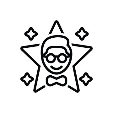 Black line icon for famous