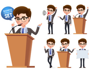 Male politician vector characters set. Business character  or politician speaking politics and standing in podium isolated with microphone in white background. Vector illustration.