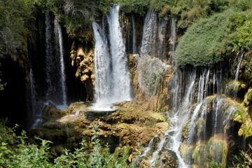 Printed kitchen splashbacks River beautiful waterfall photo background, rocky field