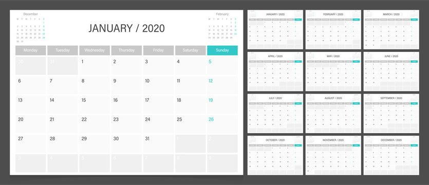 Calendar 2020 week start Monday corporate design planner template. Calendar planner A4 size.