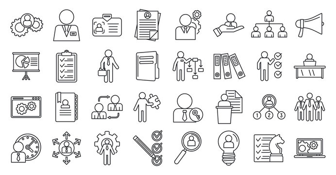 Manager icons set. Outline set of manager vector icons for web design isolated on white background