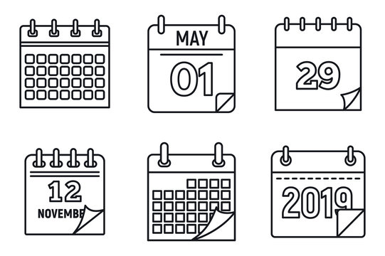 Calendar week icons set. Outline set of calendar week vector icons for web design isolated on white background