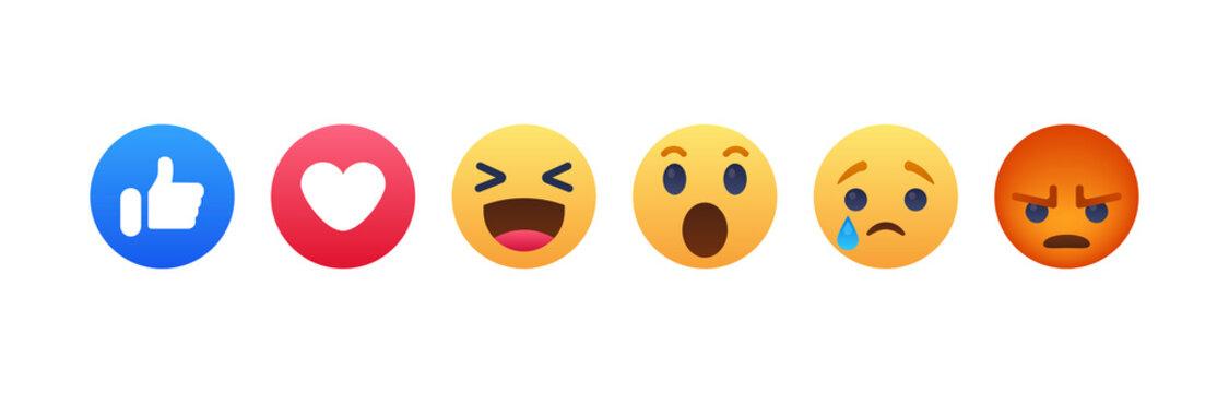Facebook button set of 6 Emoji Reactions. Vinnitsa, Ukraine - August 26, 2019