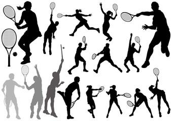 テニス シルエットイラストセット