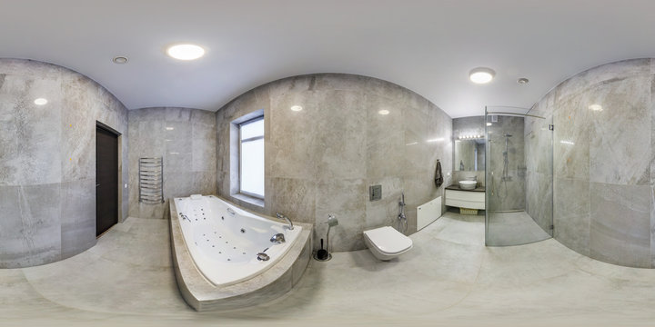full seamless hdri panorama 360 degrees angle view in interior of bathroom in modern flat loft apartments in equirectangular projection with zenith and nadir. VR AR content