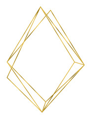 Geometrical rhombic polyhedron linear frame in gold