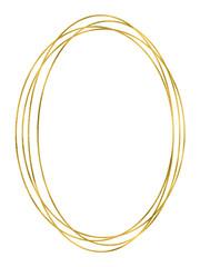 Shiny gold oval linear frame