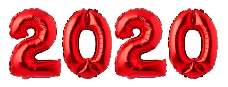Numbers 2020 made of  red balloons isolated on white background.New year concept.