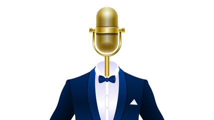 Realistic gold microphone in tuxedo with bowtie