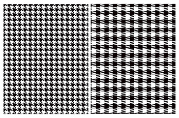 Simple Vector Pattern with Black and White Houndstooth and Grid. Black Geometric Design Isolated on a White Background. Houndstooth Repeatable Print Ideal for Fabric, Textile, Wrapping Papaper.