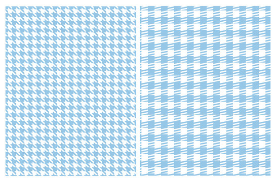 Simple Vector Pattern with Blue and White Houndstooth and Grid. Blue Geometric Design Isolated on a White Background. Houndstooth Repeatable Print Ideal for Fabric, Textile, Wrapping Papaper.