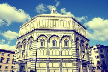 Wall Mural - Florence, Italy - the Baptistery. Vintage filtered color style.