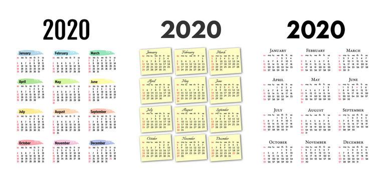 Set of three calendars for 2020
