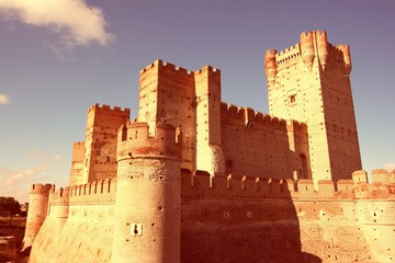 Castle in Spain - Castillo De La Mota. Retro filtered colors style.