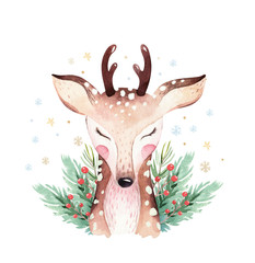 Wall Mural - Watercolor cute cartoon deer animal portrait design. Winter holiday card on white background. New year fawn decoration, merry christmas postcard