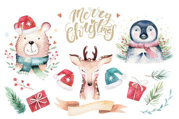 Watercolor cute baby bear, deer, raccoon and penguin cartoon animal portrait design. Winter holiday card on white background. New year decoration, merry christmas element
