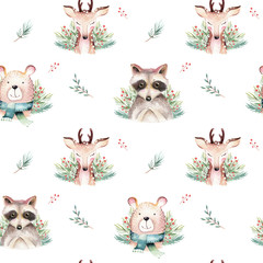Wall Mural - Watercolor seamless pattern with cute baby bear, raccoon and deer cartoon animal portrait design. Winter holiday card on white. New year decoration, merry christmas element