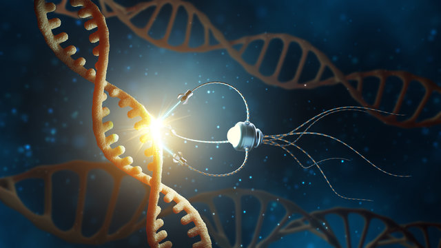 Medical concept in the field of nanotechnology. Genetic engineering and the use of nanorobots to replace part of the DNA molecule. 3 d rendering.