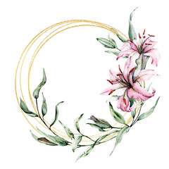 Wreath, greeting card template, watercolor flowers, floral gold frame border with lilies and leaves, illustration hand painted. Isolated on white background.