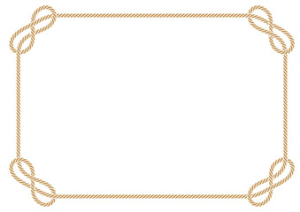 Vector rectangular frame made of intertwined ropes over white background
