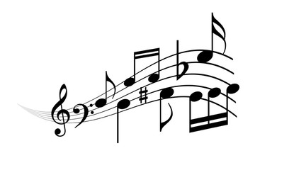 Musical wave with notes, vector cartoon