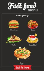 Fast food menu. Watercolor pictures