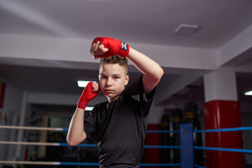 Fighter shadow boxing in the ring