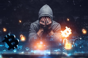 Hacker hunting for code concept