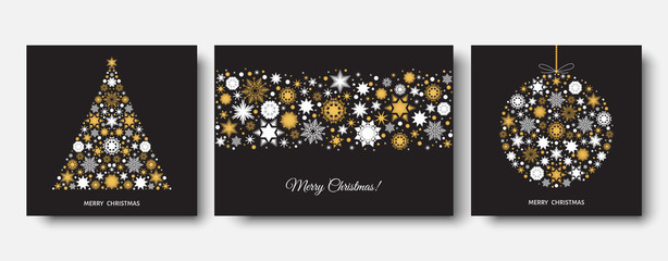 Fotomurales -  Christmas and  New Year black background with gold snowflakes.