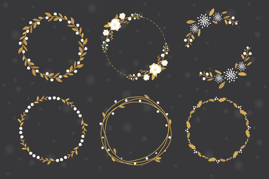 golden luxury christmas round wreath  frame collection flat style eps10 vector illustration